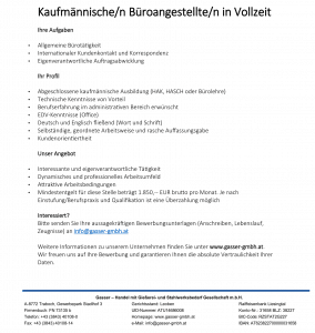 Job advertisement for commercial office worker 1 | Gasser GmbH